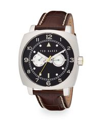 Ted Baker - Black Square Stainless Steel & Leather Multifunction Watch - Lyst