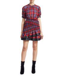 Tanya Taylor Red Nicole Plaid Ruffled Mini Dress