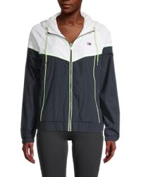 Tommy Hilfiger Women's Colorblock Nylon Zip Jacket - White Black - Size L