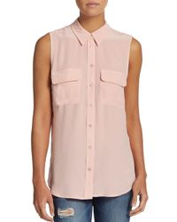 Equipment Pink Sleeveless Silk Shirt