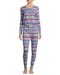 Jane And Bleecker - Blue Printed Long Sleeve Pajamas - Lyst