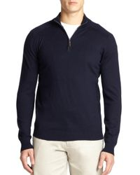 Saks Fifth Avenue Gray Silk-blend Quarter-zip Sweater for men