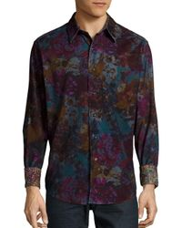 Robert Graham Blue Floral Printed Shirt for men