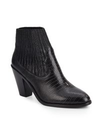 Ash - Black Ilona Embossed Leather Ankle Boots - Lyst