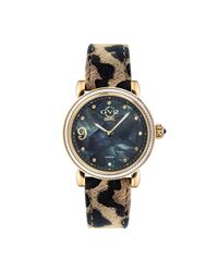 Gv2 Metallic Women's Ravenna Mosaic Mother-of-pearl Leather Strap Watch
