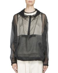 Maison Margiela Black Sheer Silk Drawstring Hoodie