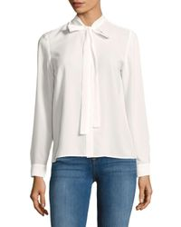 French Connection - White Solid Long-sleeve Top - Lyst