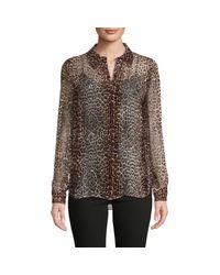 Elie Tahari Brown Ingunn Leopard-print Shirt