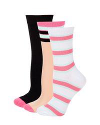 Juicy Couture Black Three-pack Sheer Crew Socks