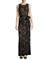 Adrianna Papell Black Sleeveless Lace Mermaid Gown