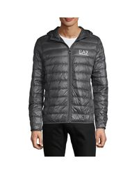 EA7 Gray Zip-front Down-filled Puffer Jacket for men