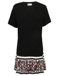 RED Valentino - Black Pleated Hem T-shirt Dress - Lyst
