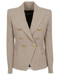 Balmain Multicolor Double Breasted Washed Jute 6 Btn Jacket