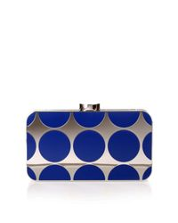 Manolo Blahnik | Mina Royal Blue Shiny Silver Clutch | Lyst