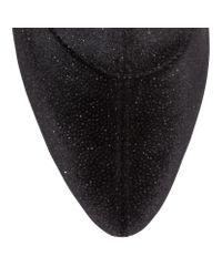 Giuseppe Zanotti Celeste 90 Black Glitter Velvet Stretch Booties