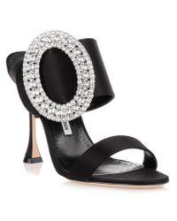 Manolo Blahnik Fibiona Black Satin Crystal Sandal Us