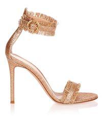 Gianvito Rossi Multicolor Caribe Rose Gold Glitter Sandal Us
