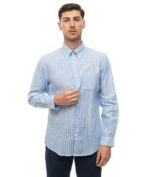 Brooks Brothers Blue Long-sleeved Linen Shirt Azure Linen for men