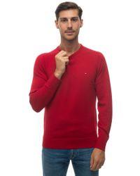 Pullover girocollo Rosso Lana di Tommy Hilfiger in Red da Uomo