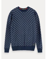Scotch & Soda Sweater Met Print En Ronde Hals in het Blue voor heren