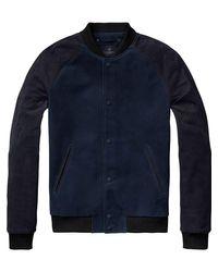 Scotch & Soda | Blue Suede Bomber Jacket for Men | Lyst