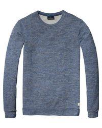 Scotch & Soda - Blue Structured Melange Sweatshirt for Men - Lyst