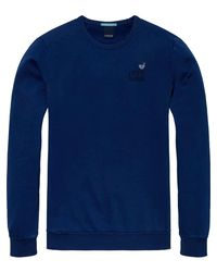 Scotch & Soda Blue Garment Dyed Sweater for men