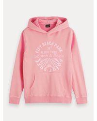 Scotch & Soda Garment-dyed Hoodie Met Artwork in het Pink voor heren