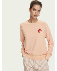 Scotch & Soda Sweater Met Textuur, Lange Mouwen En Artwork in het Pink