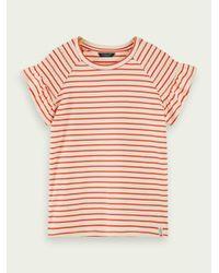 T-shirt à smocks et manches courtes 100 % coton Scotch & Soda en coloris Red