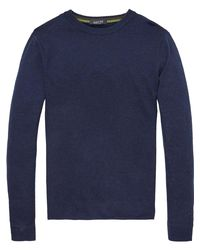 Scotch & Soda Blue Lambswool Pullover for men