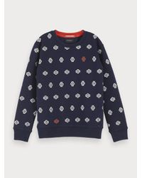 Scotch & Soda Sweater Met All-over Print in het Blue