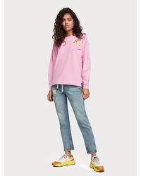 Scotch & Soda Sweater Met Grafisch Artwork in het Pink