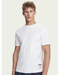 Scotch & Soda T-shirt Van 100% Katoenen Twill Met Korte Mouwen in het White voor heren