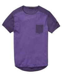 Scotch & Soda - Purple Combined Oil Washed T-shirt for Men - Lyst