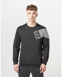 EA7 Black 7 Lines Sweatshirt for men