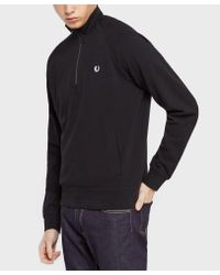 Fred Perry Black Half Zip Pique Knit for men