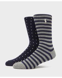 Polo Ralph Lauren Blue 2-pack Spot & Stripe Socks for men