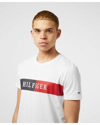 Tommy Hilfiger White Intarsia Block Short Sleeve T-shirt for men