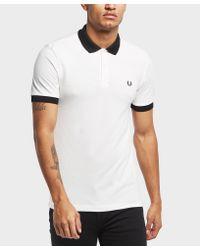 Fred Perry White Matt Tip Short Sleeve Polo Shirt for men