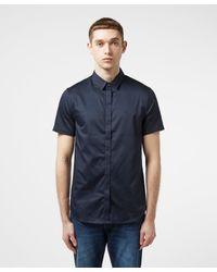 Armani Exchange Circle Logo Short Sleeve Shirt Navy Blue for men