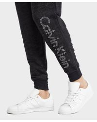Calvin Klein - Black Jersey Cuffed Track Pants for Men - Lyst