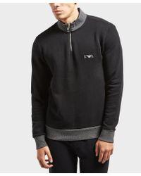 Emporio Armani Black Terry Quarter Zip Sweatshirt for men