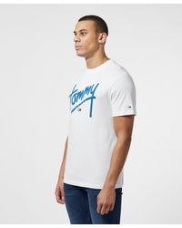 Tommy Hilfiger White Script Logo Short Sleeve T-shirt for men