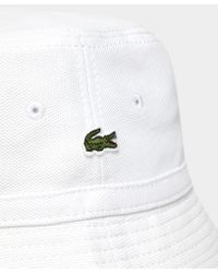 Lacoste - White Pique Bucket Hat for Men - Lyst