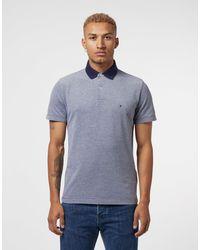 Tommy Hilfiger Blue Oxford Short Sleeve Polo Shirt for men