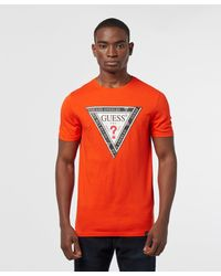 Guess Multicolor Tape Triangle Short Sleeve T-shirt for men