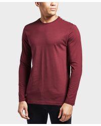 Aquascutum Red Southport Long Sleeve T-shirt for men