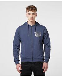 Versace Jeans Blue Foil Logo Full Zip Hoodie for men