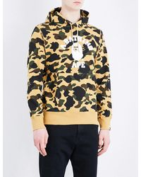 A Bathing Ape | Yellow Camouflage-print Cotton Hoody for Men | Lyst
